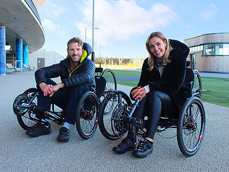 JJ Chalmers and Amy Dowden from BBC Strictly Come Dancing riding ICE recumbent Trikes